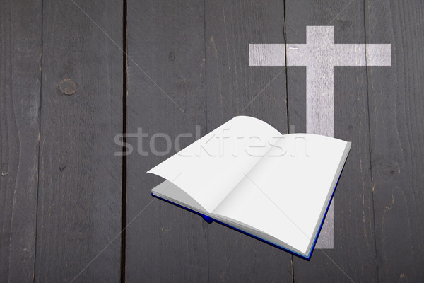 Illustration blanche bible croix sombre noir Photo stock © gigra