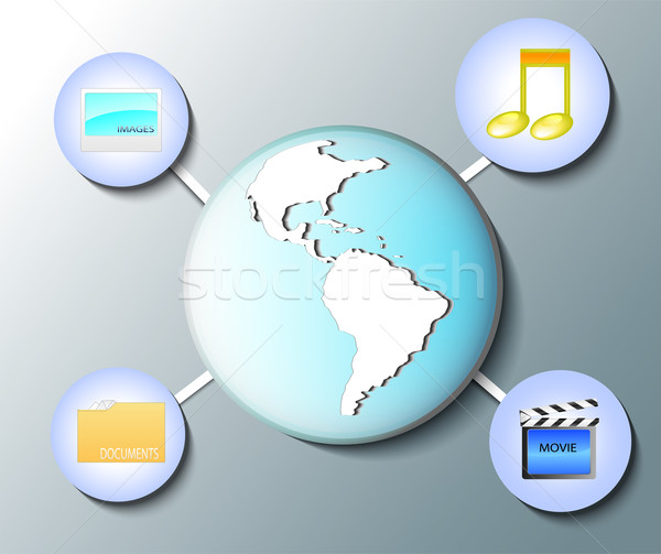 Ilustración mundo mundo los medios de comunicación iconos negocios Foto stock © gigra
