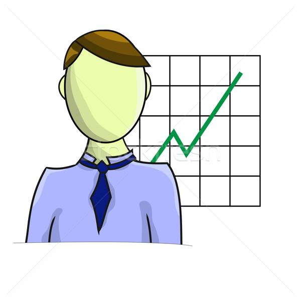 実例 ビジネスマン グラフ 孤立した 白 市場 ストックフォト © gigra