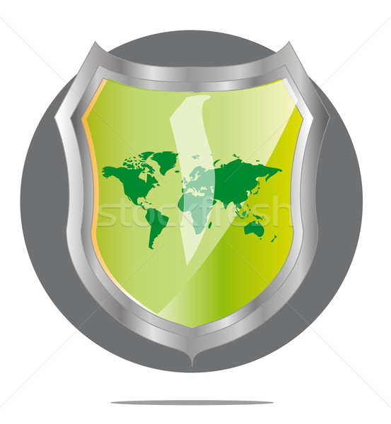 Illustration of green world map in grey shield Stock photo © gigra