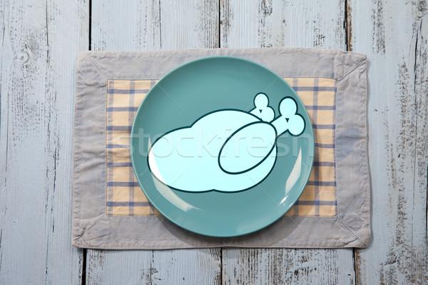 Boş plaka tavuk et imzalamak açık mavi Stok fotoğraf © gigra