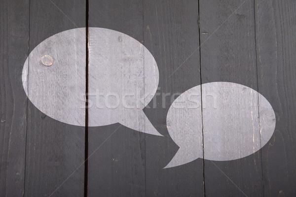 Dos blanco texto globos oscuro negro Foto stock © gigra