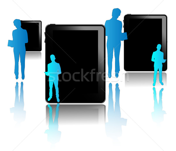 Black tablets with blue businessmen isolated on white background Stock photo © gigra