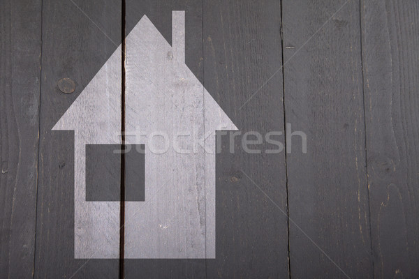 örnek beyaz ev karanlık siyah ahşap ev Stok fotoğraf © gigra