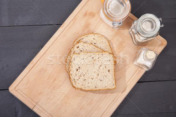 Stockfoto: Glutenvrij · brood · plaat · bloem · zwarte · houten