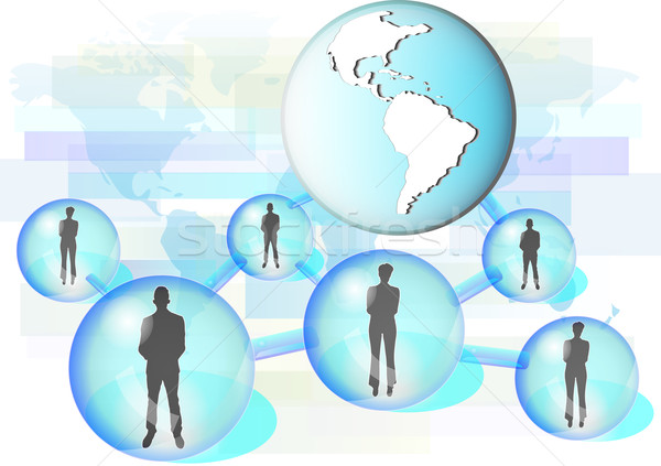 Illustration of business people connected in network with globe. Elements of this image are furnishe Stock photo © gigra