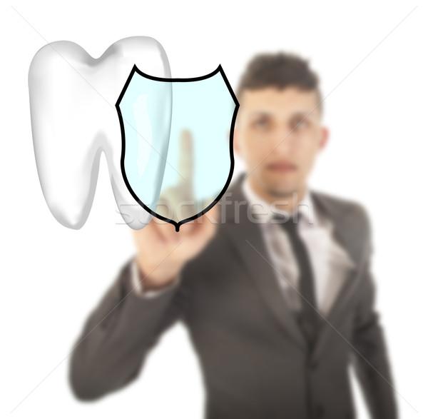 若い男 歯 シールド シンボル 孤立した 白 ストックフォト © gigra