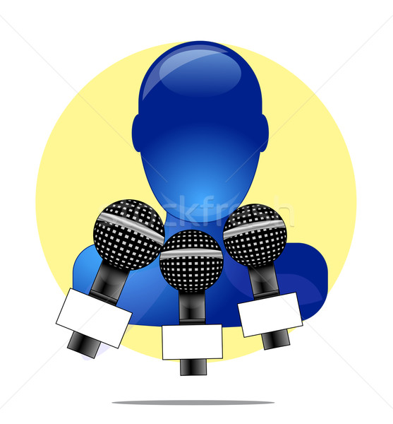 Illustration of blue person with three microphones with yellow circle background Stock photo © gigra