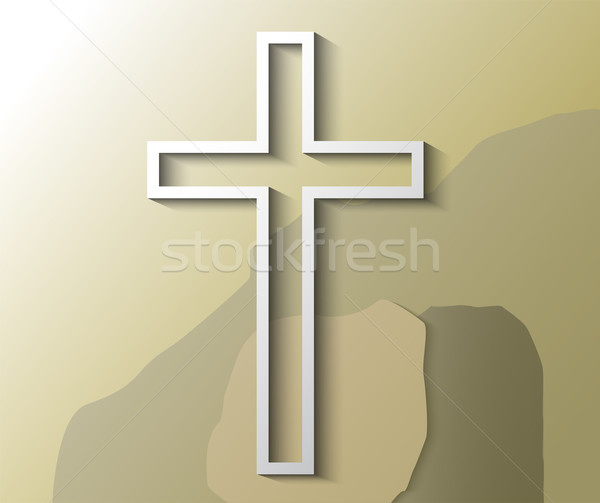 Illustration of Christian cross with empty grave Stock photo © gigra