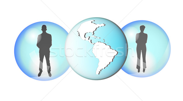 Illustration of two business people connected with earth globe Stock photo © gigra