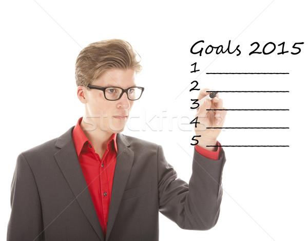 Fiatalember ír célok 2015 izolált fehér Stock fotó © gigra