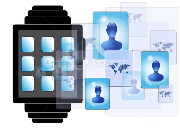 Illustration of smartwatch with social media persons Stock photo © gigra