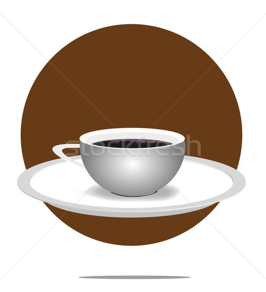 Illusztráció kávéscsésze barna kör étel terv Stock fotó © gigra