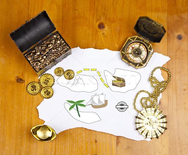 Pirate carte trésor pièces médaille anneau Photo stock © gigra