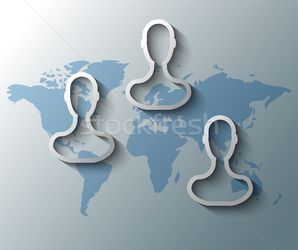 Illustration of group friends with world map Stock photo © gigra