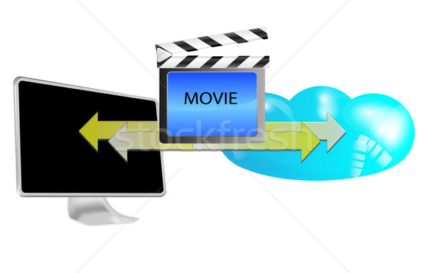 Illustratie streaming film wolk geïsoleerd witte Stockfoto © gigra