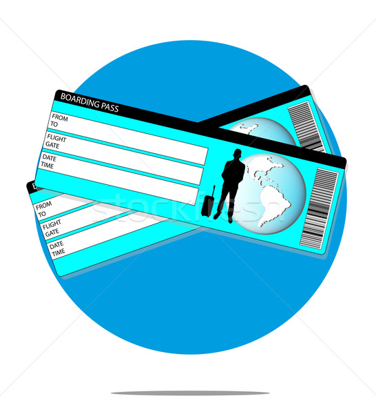 Illustration with boarding pass with blue circle background Stock photo © gigra