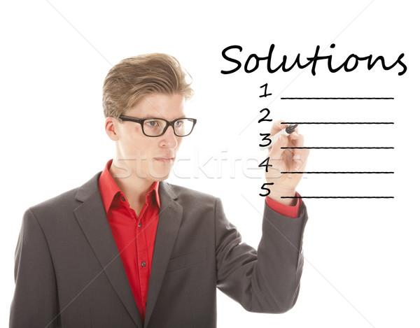 Genç yazı çözüm yalıtılmış beyaz adam Stok fotoğraf © gigra