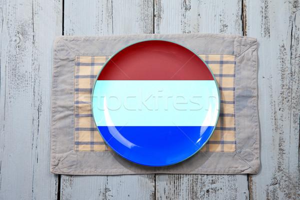 Boş plaka hollanda bayrak açık mavi ahşap Stok fotoğraf © gigra