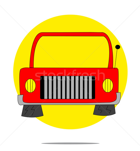 Illusztráció piros autó citromsárga kör terv Stock fotó © gigra