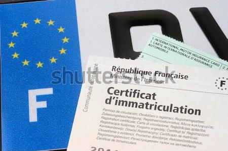Auto registratie kopen platen internet kantoor Stockfoto © Gilles_Paire