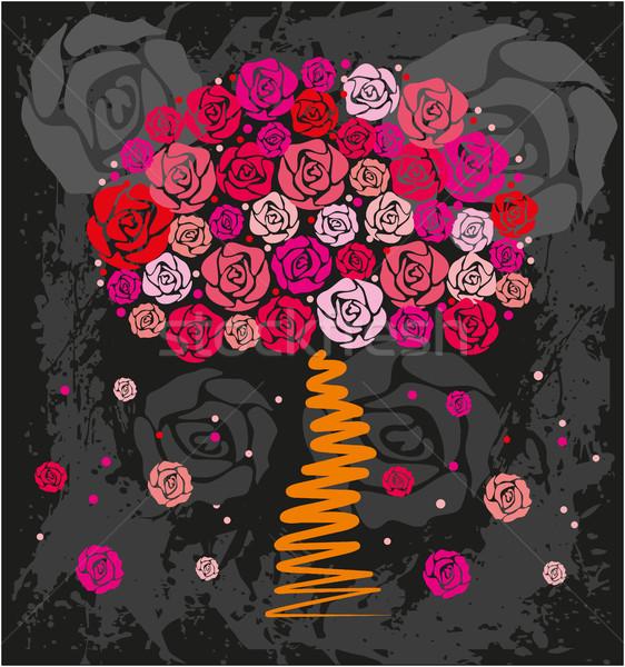 Dekoracyjny ramki wzór czarno białe kwiatowy Zdjęcia stock © gintaras