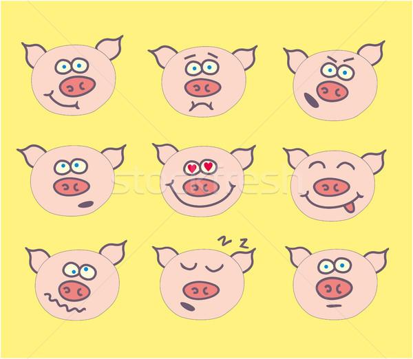 Domuz sevimli ifade ayarlamak komik karikatür Stok fotoğraf © gintaras