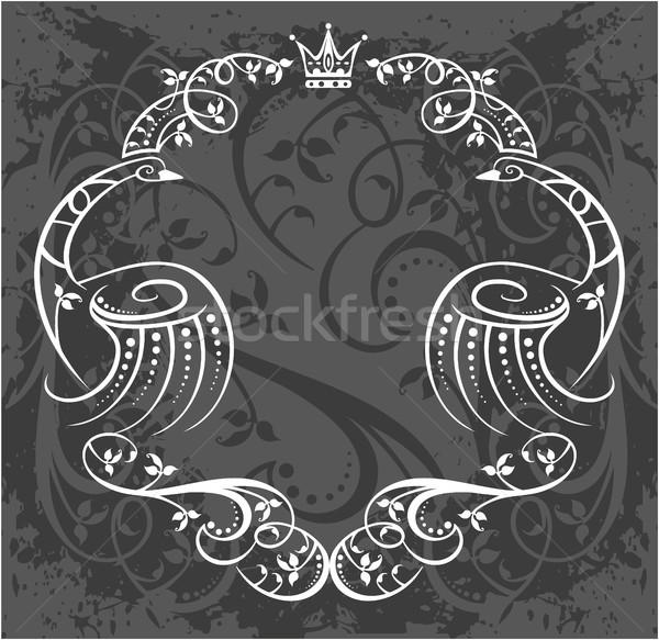 Decorativo quadro coroa preto e branco floral mão Foto stock © gintaras
