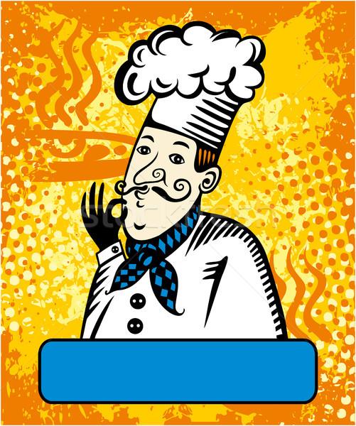 Pişirmek jest onay turuncu çerçeve yüz Stok fotoğraf © gintaras