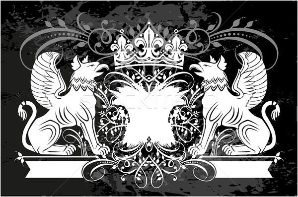 декоративный кадр корона грифон черно белые цветочный Сток-фото © gintaras