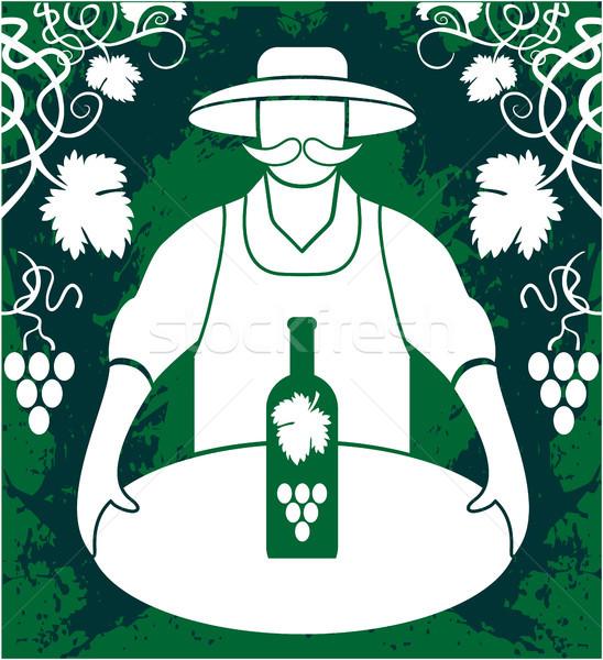 Winemaker with wine bottle Stock photo © gintaras