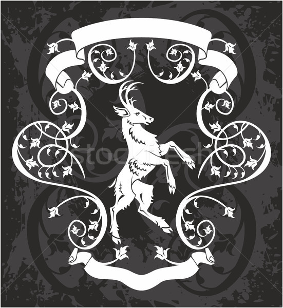 Stock photo: Heraldic deer in a frame