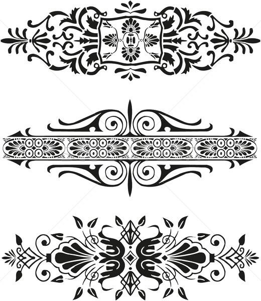 Florescer preto e branco ícone conjunto livro escrita Foto stock © gintaras