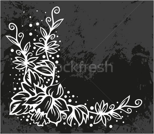 Black Floral corner Stock photo © gintaras