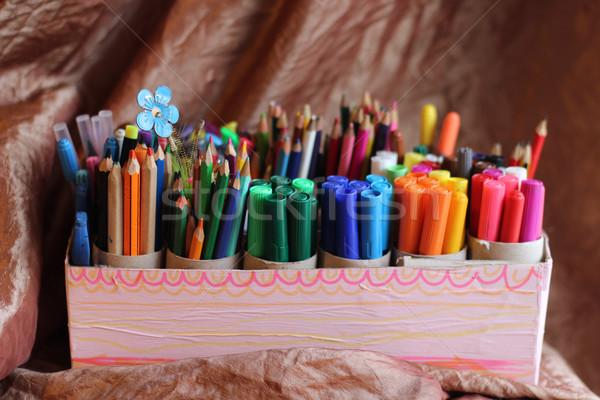 Przybory szkolne grup kolorowy brązowy działalności szkoły Zdjęcia stock © gintaras