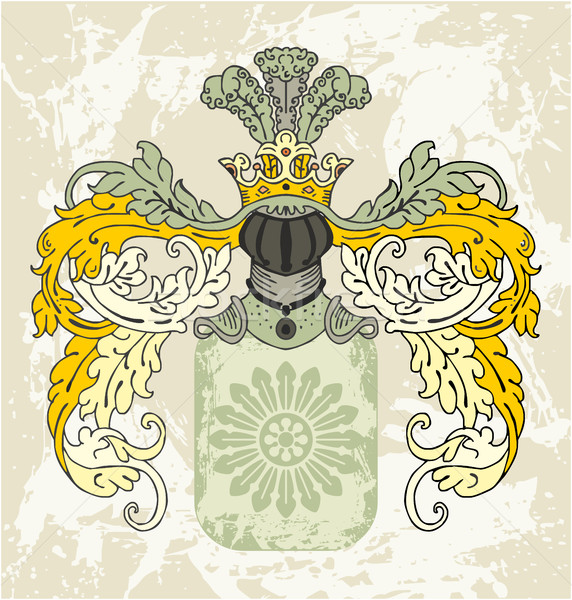Medieval coat of arms with knight helmet Stock photo © gintaras