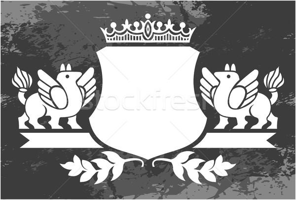 декоративный кадр корона черно белые цветочный Сток-фото © gintaras