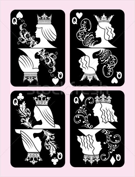 Pôquer cartões rainha conjunto quatro cor Foto stock © gintaras