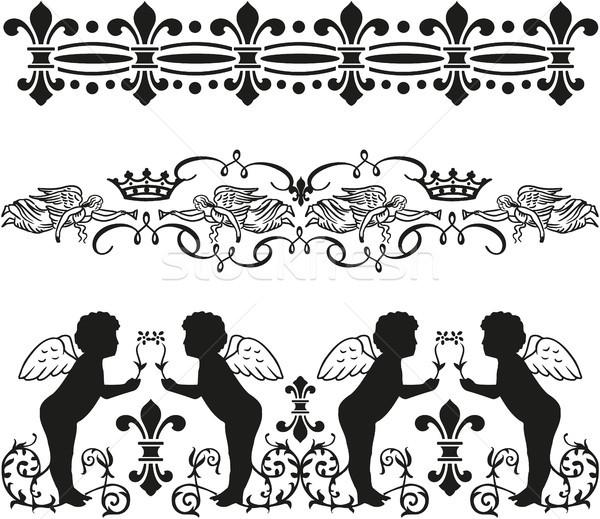 Flourish black and white icon Stock photo © gintaras