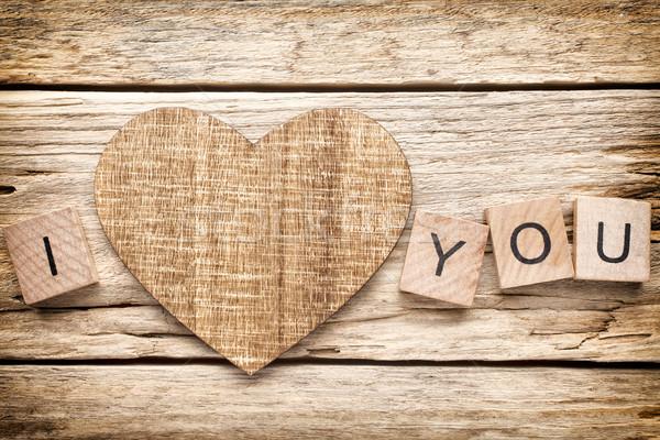 Drewna serca starych czas obraz Zdjęcia stock © gitusik