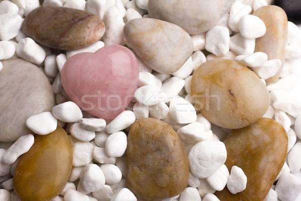 Rózsa kvarc szív kavicsok szeretet természet Stock fotó © gitusik