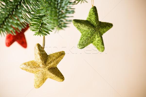 Christmas środowisk rozmycie drewna streszczenie Zdjęcia stock © gitusik