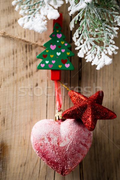 クリスマス ペグ 木板 飾り 木材 抽象的な ストックフォト © gitusik