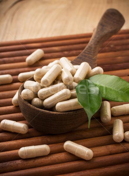 Medicina alternativa foglia verde alimentare natura salute Foto d'archivio © gitusik