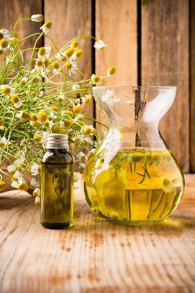 Kamille Blumen Holz Oberfläche Aromatherapie Öl Stock foto © gitusik