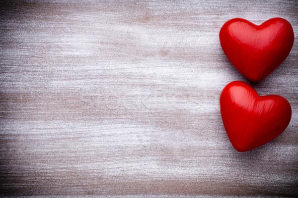 Serca walentynki kartkę z życzeniami drewna ściany Zdjęcia stock © gitusik