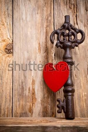 Lámpás fa asztal szív szimbólum fa fa Stock fotó © gitusik