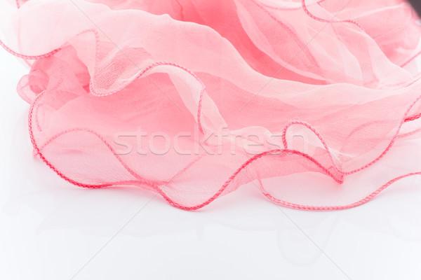 粉紅色 絲綢 圍巾 孤立 白 美女 商業照片 © gitusik