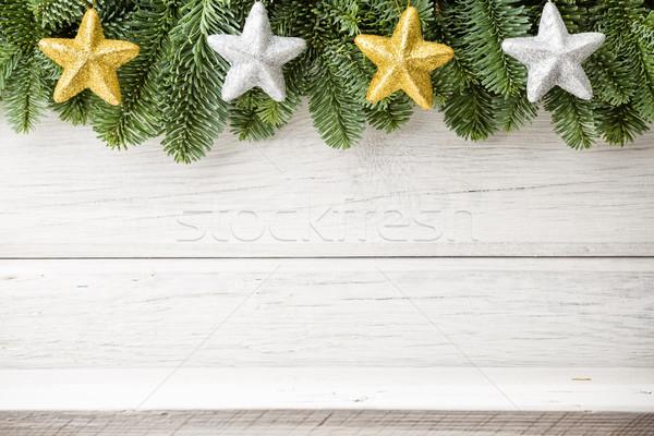 Christmas achtergronden witte houten hout Stockfoto © gitusik