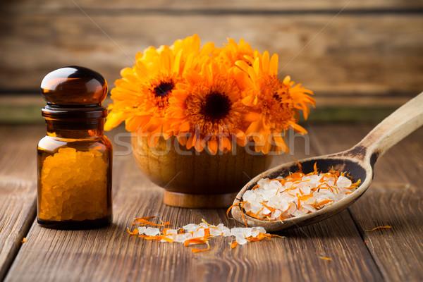 Homeopatik tıp kuru çiçekler ahşap yüzey Stok fotoğraf © gitusik